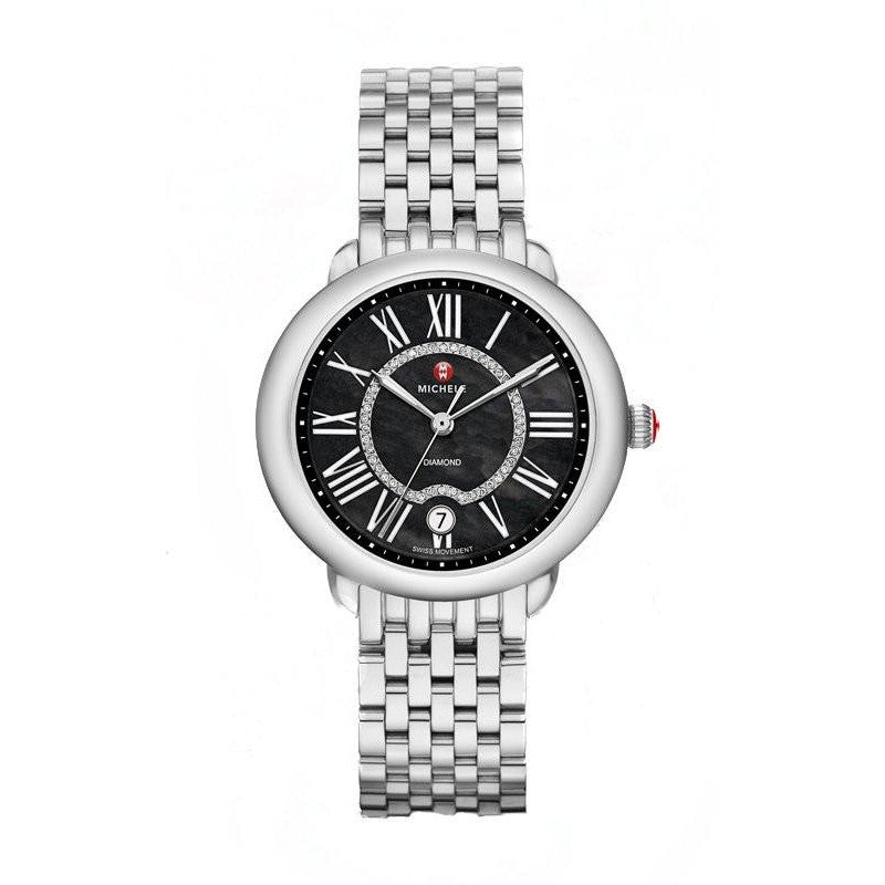 Serein 16 Black Mother of Pearl Watch-Michele-Duncan & Boyd Jewelers