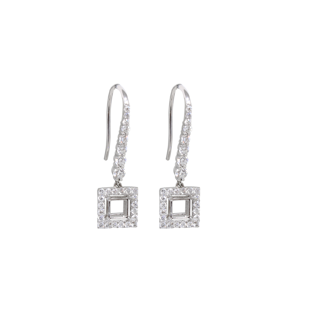 Square Dangle Semi-mount Earrings-Duncan & Boyd Jewelers-Duncan & Boyd Jewelers