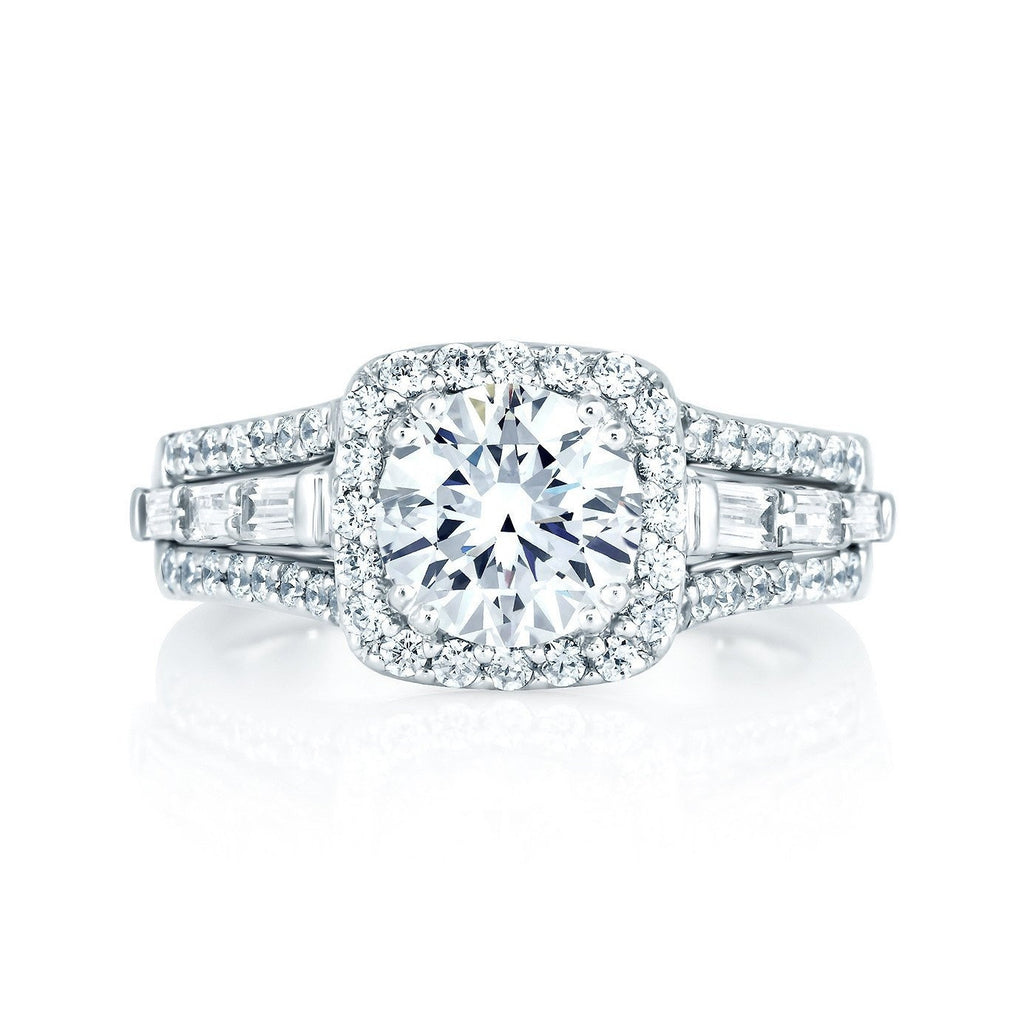 Square Halo Engagement Ring-A.JAFFE-Duncan & Boyd Jewelers