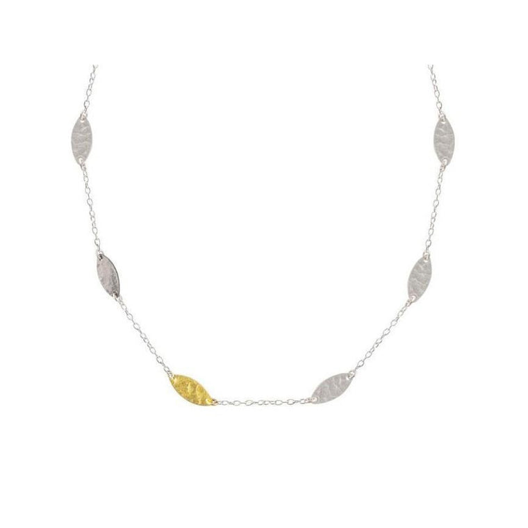 Thin Station Tri-Color Willow Flake Necklace-Gurhan-Duncan & Boyd Jewelers