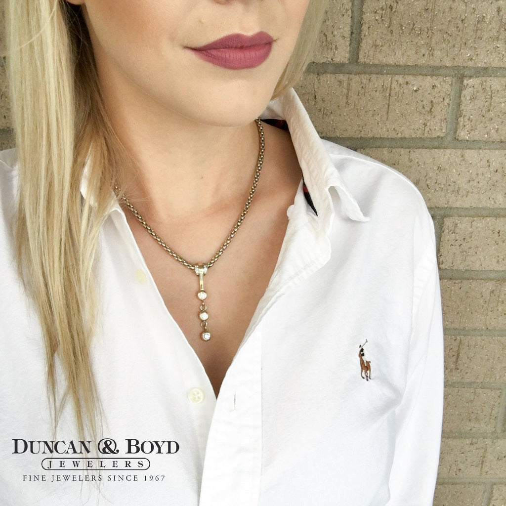 Three Diamond Dangle Necklace-Duncan & Boyd Jewelers-Duncan & Boyd Jewelers
