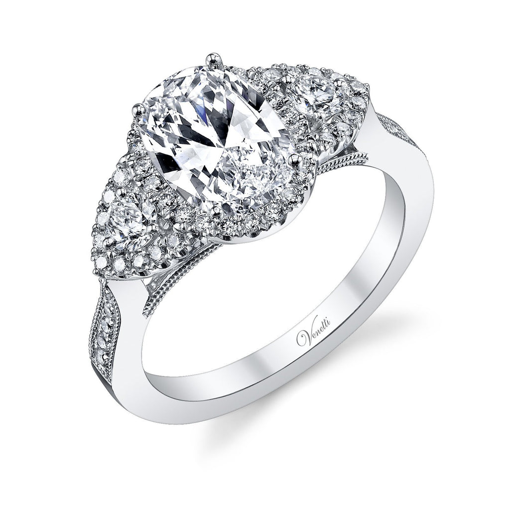 Three Stone Halo Engagement Ring-Venetti-Duncan & Boyd Jewelers