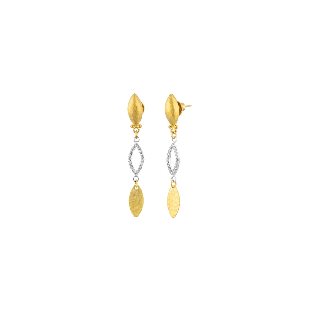Tri-Drop Willow Pave Diamond Earrings-Gurhan-Duncan & Boyd Jewelers