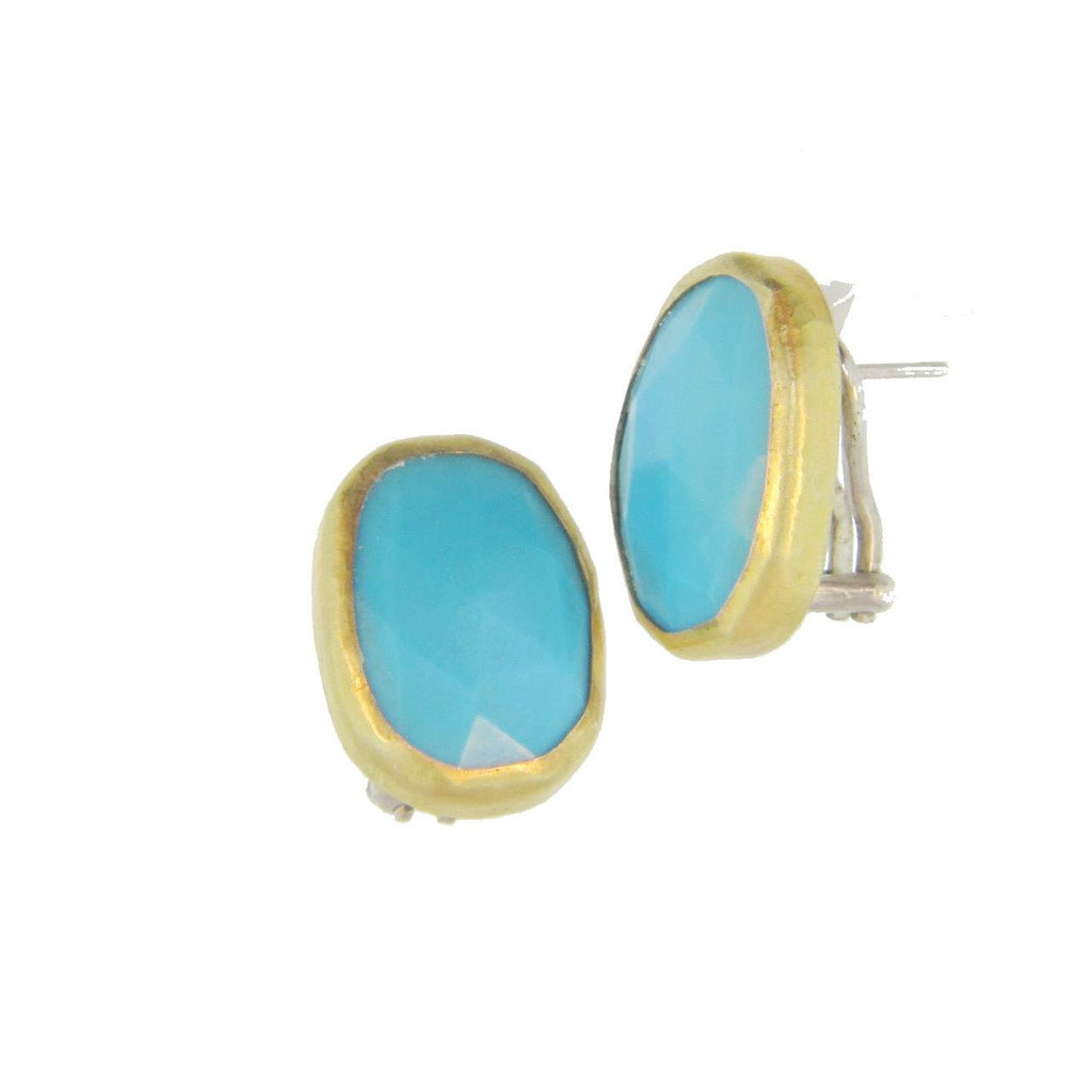 Turquoise Amorphous Stone Clip Post Earrings-Gurhan-Duncan & Boyd Jewelers