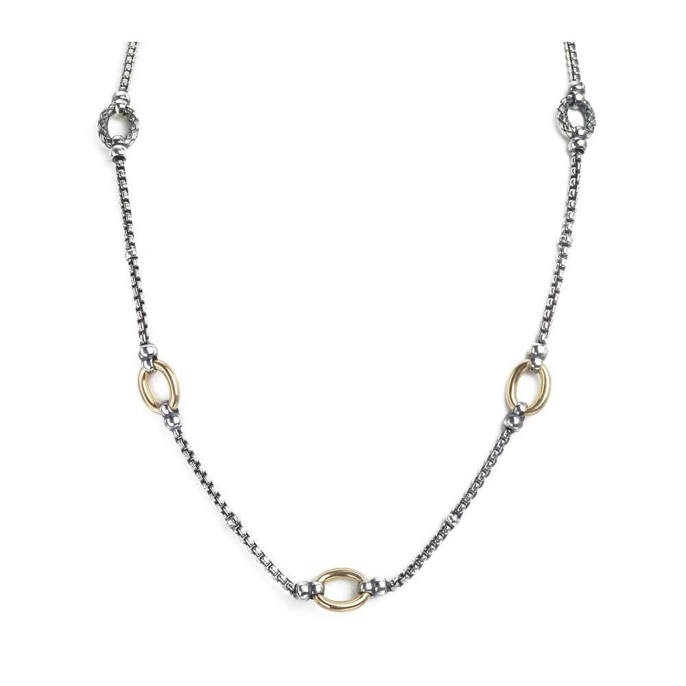 Two-tone Link and Box Chain Necklace-Alisa-Duncan & Boyd Jewelers