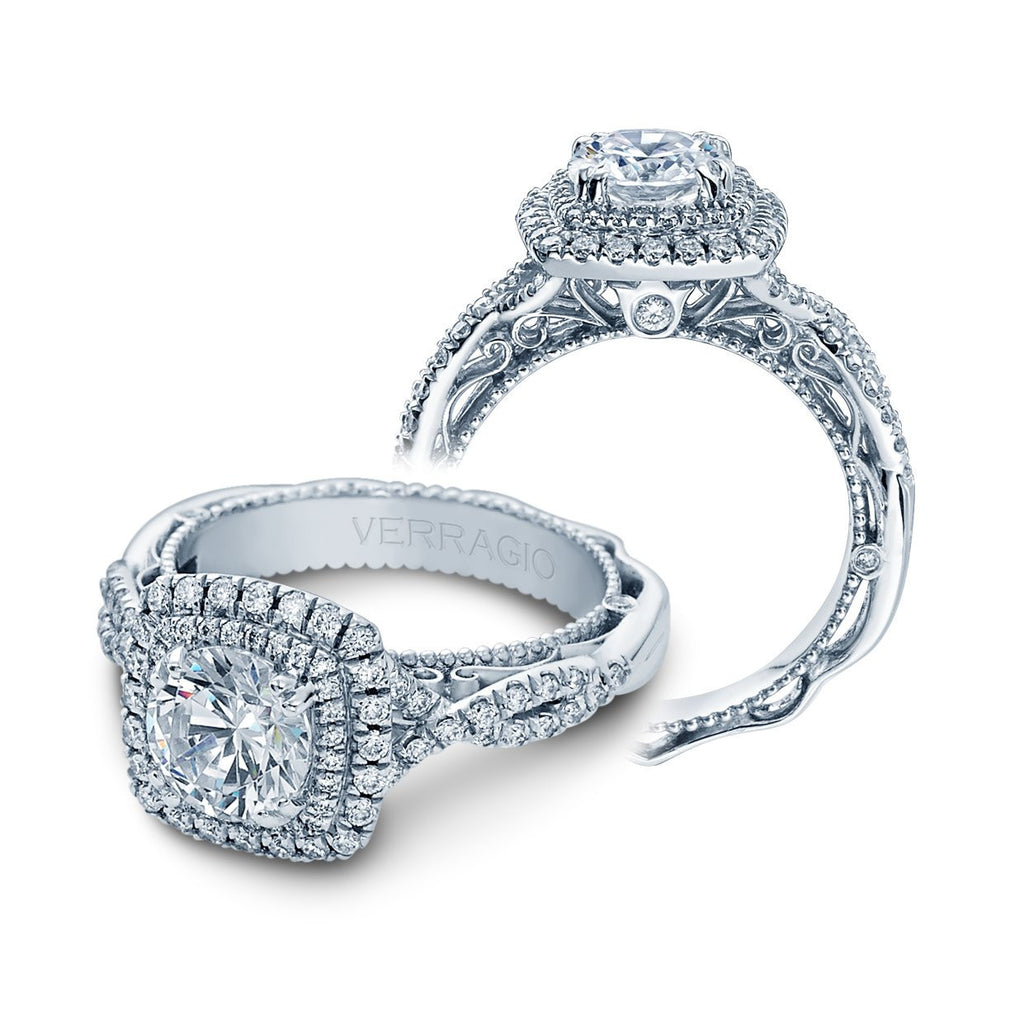 Venetian Double Halo Engagement Ring-Verragio-Duncan & Boyd Jewelers
