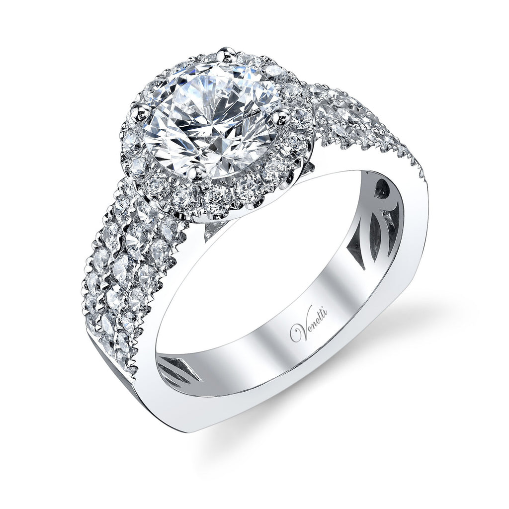 Wide Band Halo Engagement Ring-Venetti-Duncan & Boyd Jewelers