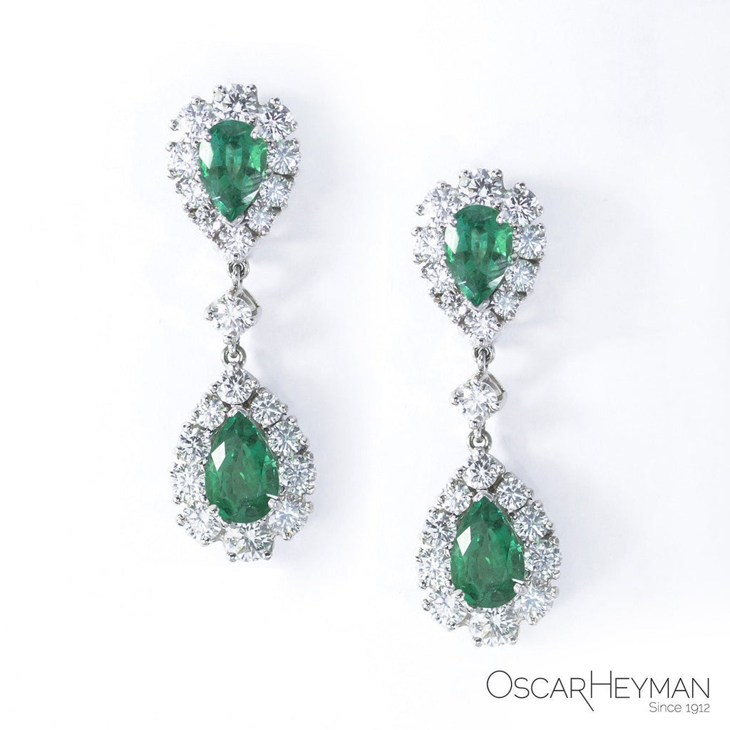 Zambia Emerald and Diamond Earrings-Oscar Heyman-Duncan & Boyd Jewelers
