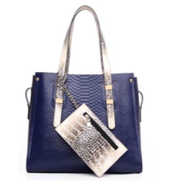 Faux Leather Snakeskin Tote with Chain Purse - RDevine Fashion (Wedding & Bridal)