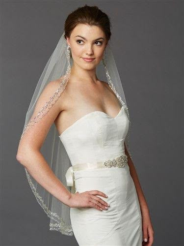 Crystal Beaded Fingertip Wedding Veil - RDevine Fashion (Wedding & Bridal)