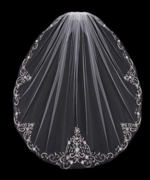 Fingertip Wedding Veil with Beaded Silver Embroidery - RDevine Fashion (Wedding & Bridal)