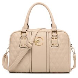 Creme Colored Faux Leather Quilted Satchel with Shoulder Strap - RDevine Fashion (Wedding & Bridal)