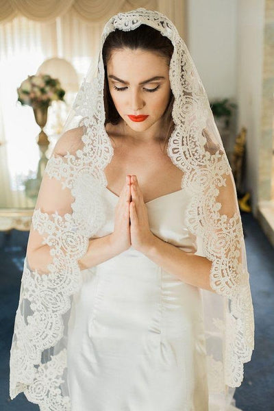 Illusion Tulle Mantilla Cathedral Wedding Veil with Corded Lace Edge - RDevine Fashion (Wedding & Bridal)
