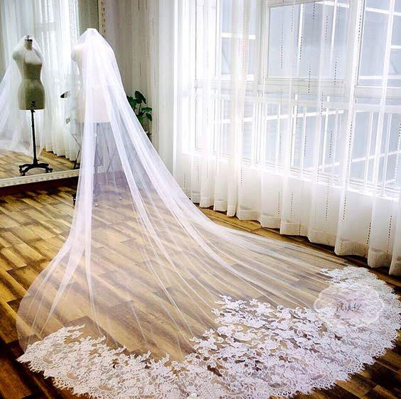 One Layer Soft Bridal Illusion Tulle Cathedral Veil with Alencon Lace - RDevine Fashion (Wedding & Bridal)