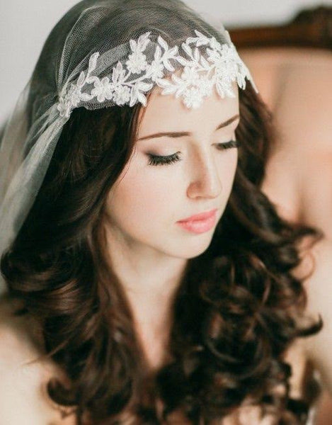Silk Tulle Juliet Cap Veil with Floral Lace Applique