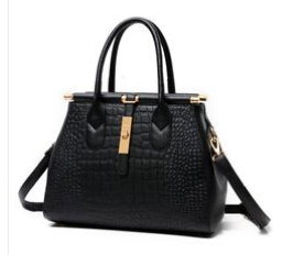 Embossed Crocodile Faux Leather Satchel
