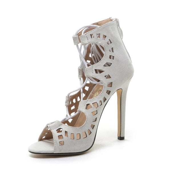 RDevine Shoes- Lace Up Peep Toe Pumps with Cut Outs