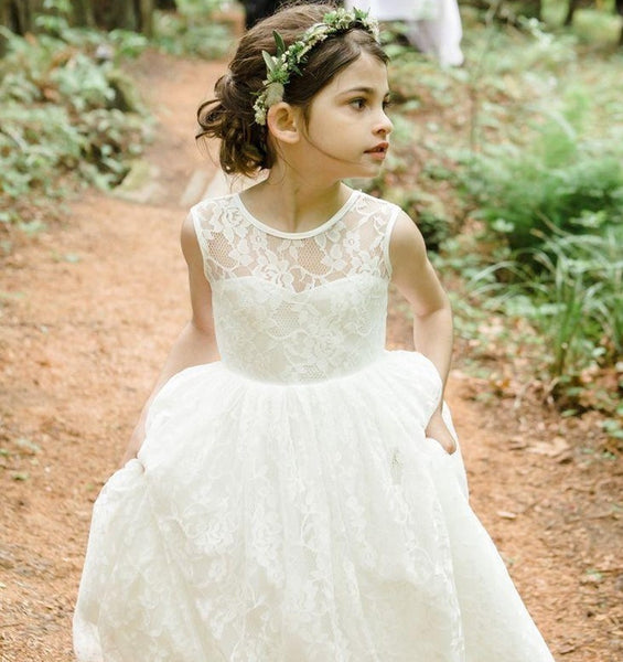 Tea Length Lace Tulle Flower Girl Dress