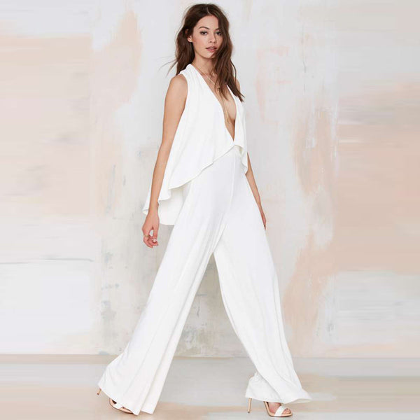 Sleeveless Wide Leg Deep V Jumpsuit