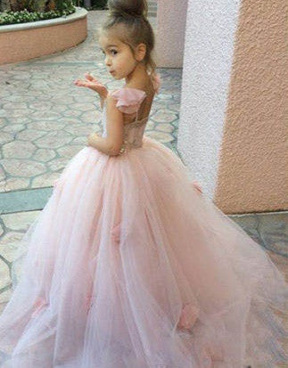 Tulle Flower Girl Ballgown with Flower Petal Skirt Detail