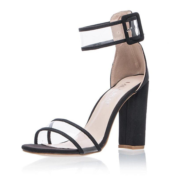 Open-Toe Chunky Heel Sandal with Transparent Straps - RDevine Fashion (Wedding & Bridal)