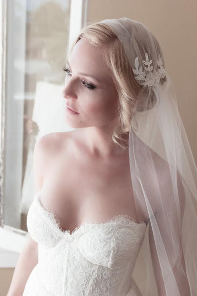 Embellished Lace Elbow Length Juliet Cap Wedding Veil with Bridal Illusion Tulle & Unfinished Edge - RDevine Fashion (Wedding & Bridal)