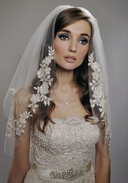 Two-Tiered Elbow Length Wedding Veil with Golden Lace Embroidery