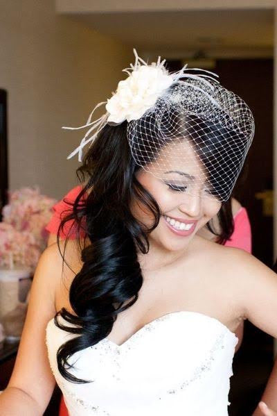 Peony Birdcage Veil with Feathered Fringe - RDevine Fashion (Wedding & Bridal)