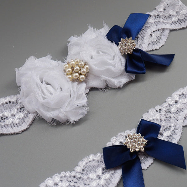 Royal Blue Lace Garter Set with Chiffon Rosettes & Satin Ribbon Bow
