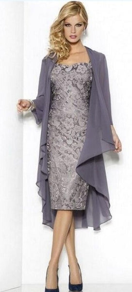 Mother of the Bride- Lace Over Satin Sheath Dress with Cap Sleeves