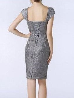 Mother of the Bride- Lace Over Satin Sheath Dress with Cap Sleeves - RDevine Fashion (Wedding & Bridal)