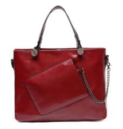 Leather Tote Shoulder Bag with Chain Purse - RDevine Fashion (Wedding & Bridal)