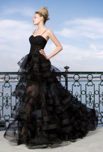 Black Wedding Gown with Spaghetti Strap & Tiered Tulle Skirt