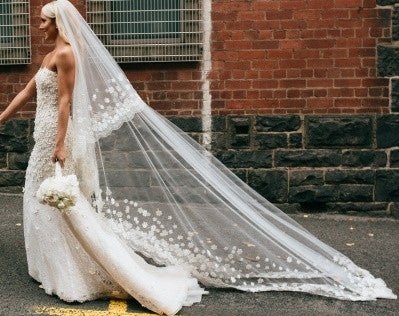 Angle Cut Tulle Cathedral Veil with Floral Appliques & Scalloped Lace - RDevine Fashion (Wedding & Bridal)
