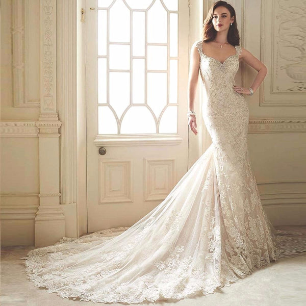 Elegant Mermaid Wedding Dress with Lace Appliques Shoulder Straps - RDevine Fashion (Wedding & Bridal)