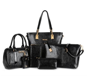6-Piece Leather Alligator Handbag Set - RDevine Fashion (Wedding & Bridal)