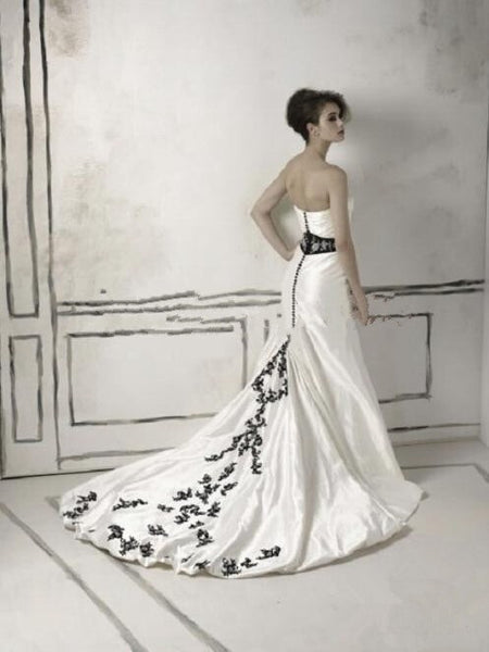 Strapless Taffeta Wedding Gown with Hand-Stitched Design-High Collared Satin Coat