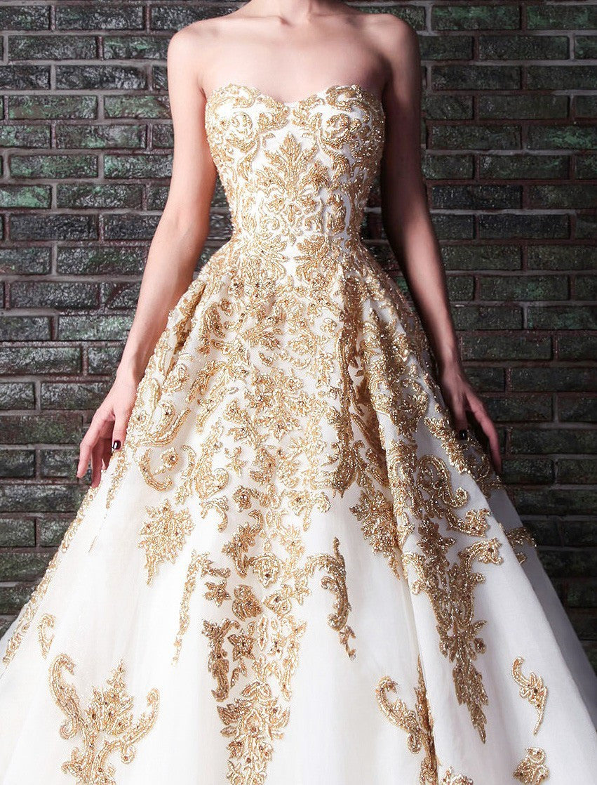 A Line Tulle Wedding Gown With Gold Lace Appliques Rdevine Fashion