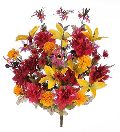 Artificial Fall Colored Flower Arrangement