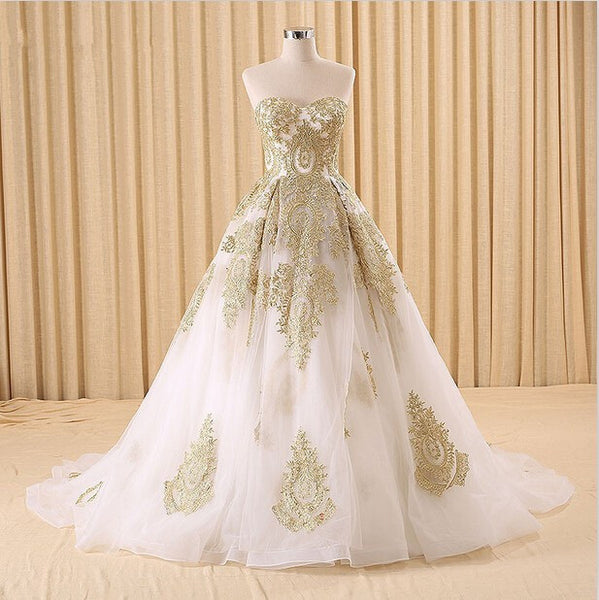 A Line Tulle Wedding Gown with Gold Lace Appliques - RDevine Fashion (Wedding & Bridal)