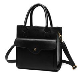 Black Leather Tote Back with Front Pocket - RDevine Fashion (Wedding & Bridal)
