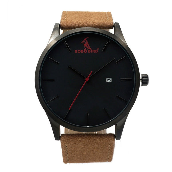 Bobo Bird Quartz Black Watch with Leather Band - RDevine Fashion (Wedding & Bridal)
