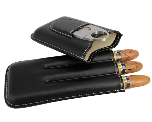 Black Leather Case with Stainless Steel Cutter - RDevine Fashion (Wedding & Bridal)