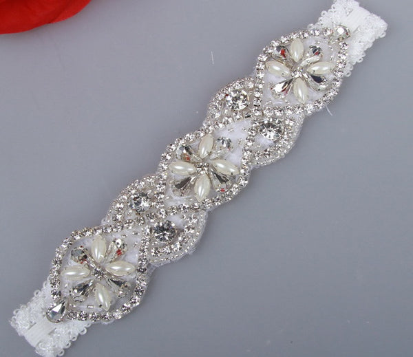 Crystal Lace Garter with Pearl Embellishment - RDevine Fashion (Wedding & Bridal)