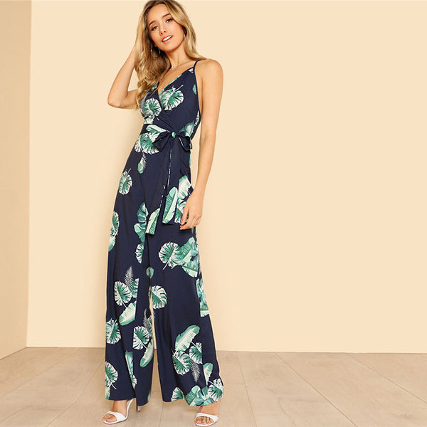 RDevine Casual- Tropical Print Wide Leg Jumpsuit with Belted Waist