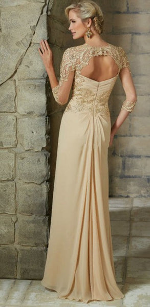 Mother of the Bride: A Line Chiffon Dress with Illusion Sleeves & Lace Applique - RDevine Fashion (Wedding & Bridal)