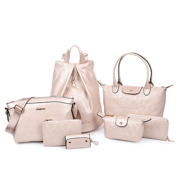 7-Piece Embossed Design Leather Handbag Set