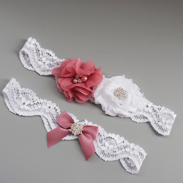 Rose-Colored Crystal Beaded Lace Garter Set