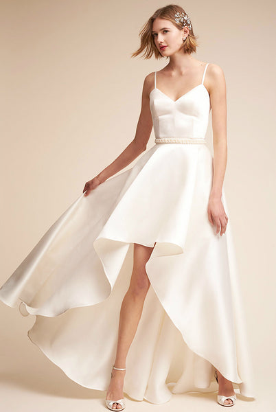 Modern Satin A Line Dress with High-Low Hemline
