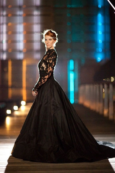 Black Lace and Taffeta Wedding Gown with High Collar and Full Sleeves - RDevine Fashion (Wedding & Bridal)